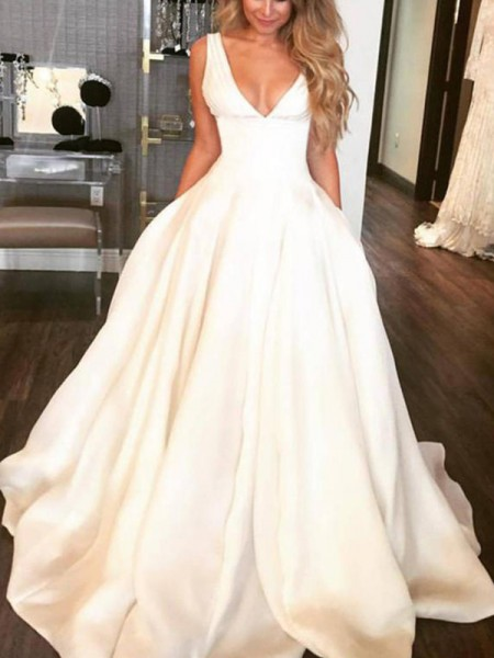 A-Line/Princess Satin Ruffles V-neck Sleeveless Sweep/Brush Train Ivory Wedding Dresses