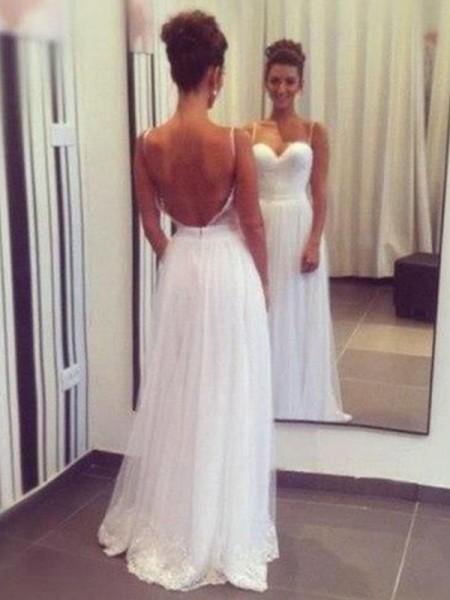 A-Line/Princess Tulle Ruffles Sweetheart Sleeveless Floor-Length White Wedding Dresses