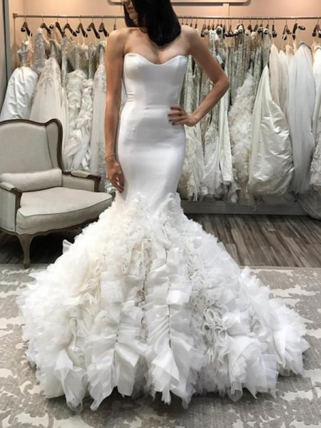 Trumpet/Mermaid Organza Sweetheart Sleeveless Court Train Ivory Wedding Dresses