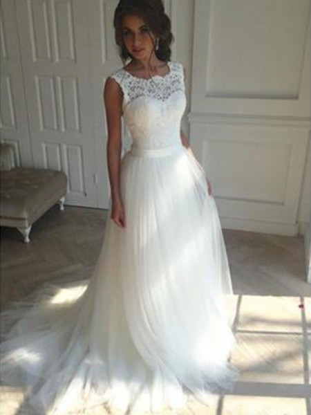 A-Line/Princess Tulle Beading Square Sleeveless Court Train Ivory Wedding Dresses