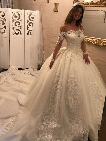 Ball Gown Tulle Applique Off-the-Shoulder Long Sleeves Cathedral Train Ivory Wedding Dresses
