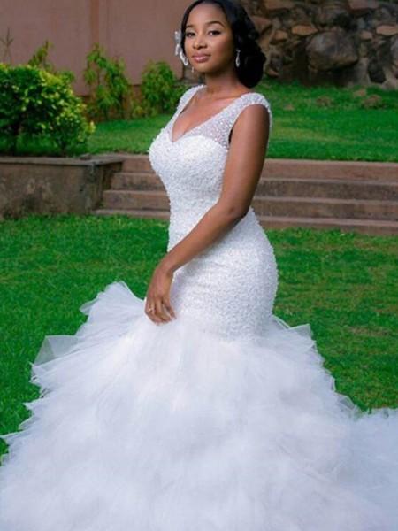 Trumpet/Mermaid Organza Beading V-neck Sleeveless Cathedral Train White Wedding Dresses