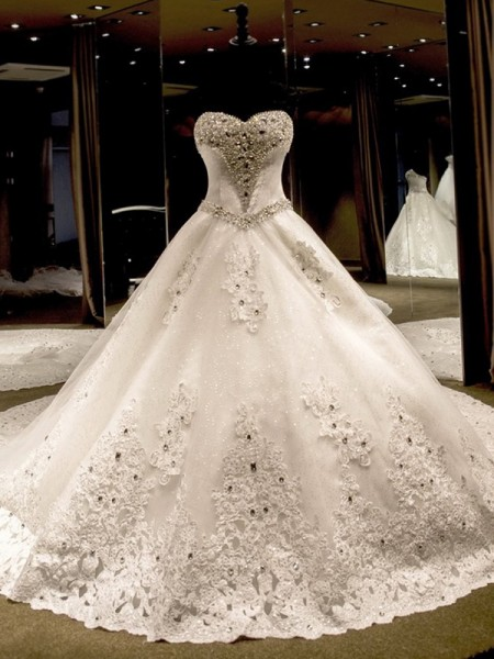 Ball Gown Tulle Sequin Sweetheart Sleeveless Cathedral Train Ivory Wedding Dresses