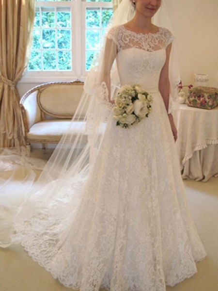 A-Line/Princess Lace Applique Square Short Sleeves Court Train Ivory Wedding Dresses