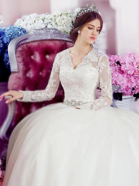 A-Line/Princess Tulle Applique V-neck Long Sleeves Cathedral Train Ivory Wedding Dresses