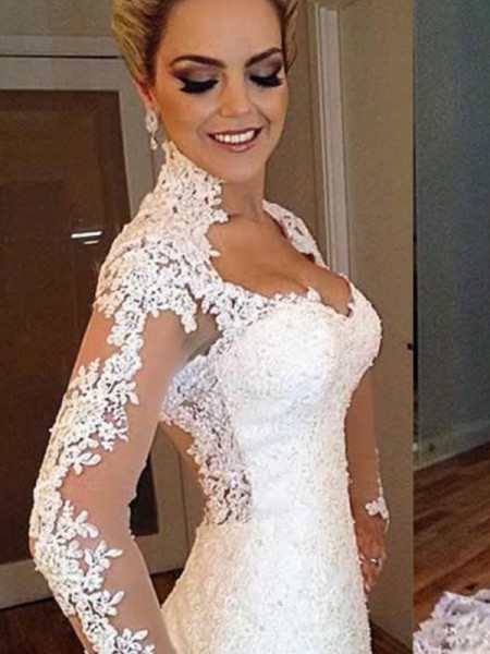 Trumpet/Mermaid Lace Applique V-neck Long Sleeves Sweep/Brush Train White Wedding Dresses