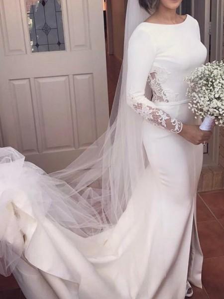Trumpet/Mermaid Satin Lace Scoop Long Sleeves Court Train Ivory Wedding Dresses
