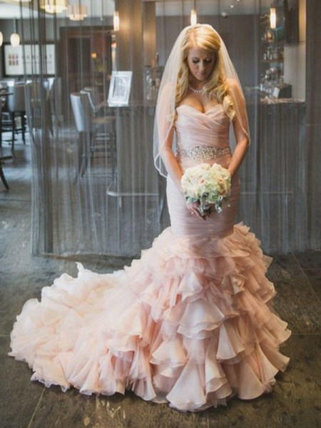 Trumpet/Mermaid Organza Ruffles Sweetheart Sleeveless Court Train Pink Wedding Dresses
