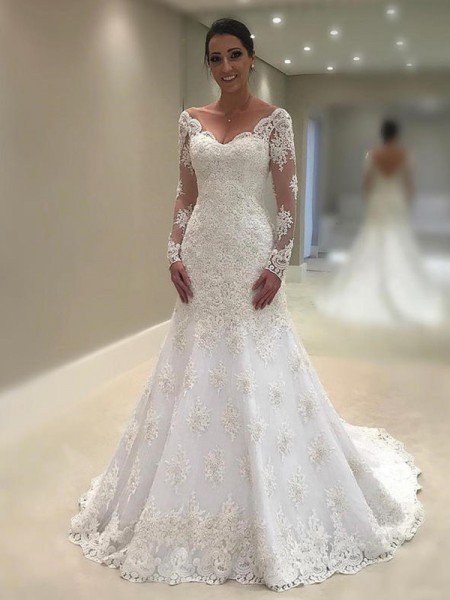 Trumpet-Mermaid Lace Applique V-neck Long Sleeves Court Train Ivory Wedding Dresses