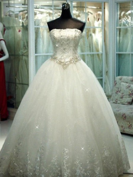 Ball Gown Tulle Beading Strapless Sleeveless Floor-Length Ivory Wedding Dresses