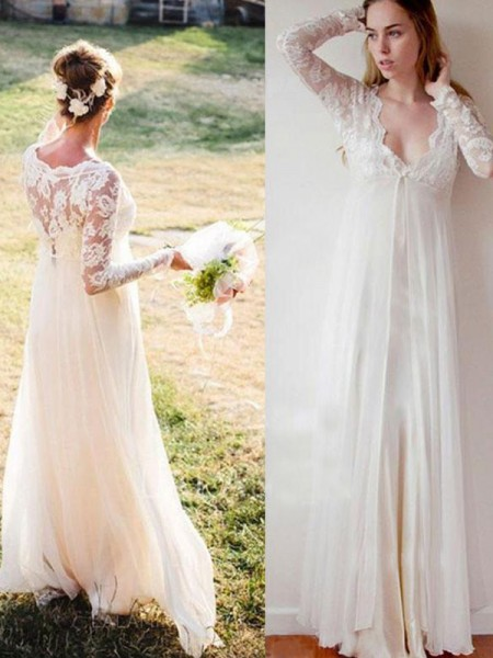Empire Chiffon Lace V-neck Long Sleeves Floor-Length White Wedding Dresses