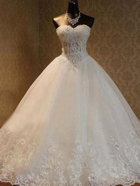 Ball Gown Tulle Beading Sweetheart Sleeveless Floor-Length Ivory Wedding Dresses