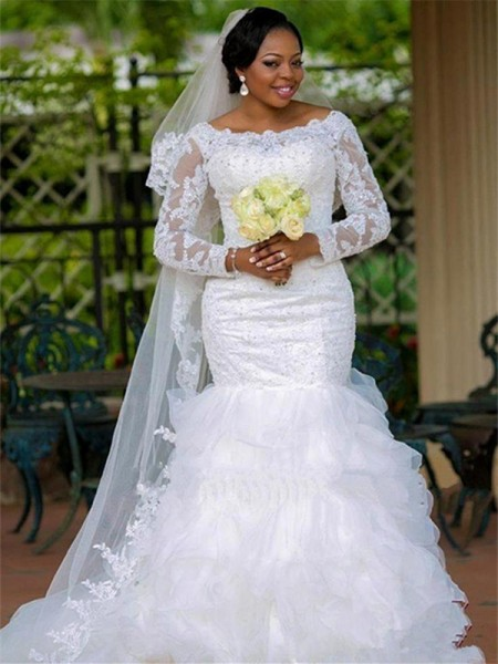 Ball Gown Tulle Applique Scoop Long Sleeves Chapel Train White Wedding Dresses