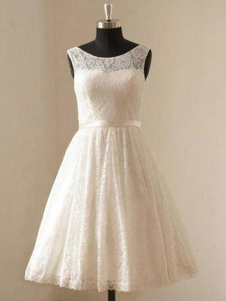 A-Line/Princess Lace Sash/Ribbon/Belt Scoop Sleeveless Knee-Length Ivory Wedding Dresses