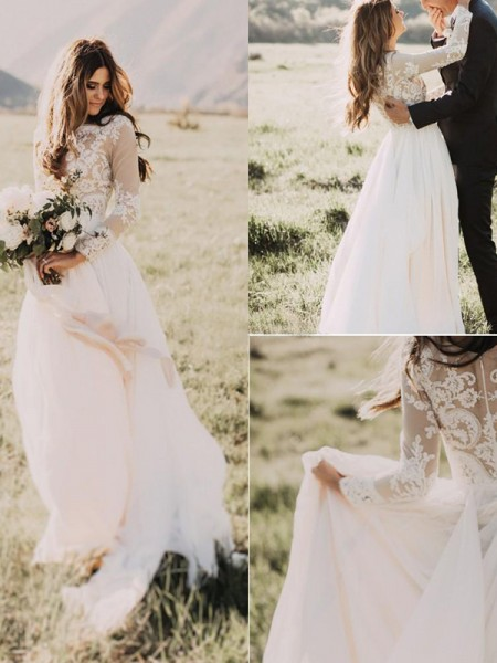 A-Line/Princess Chiffon Applique V-neck Long Sleeves Sweep/Brush Train Ivory Wedding Dresses