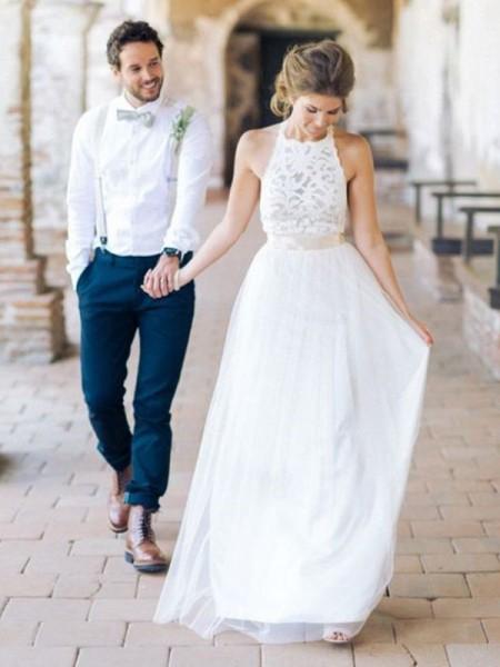 A-Line/Princess Tulle Sash/Ribbon/Belt Halter Sleeveless Floor-Length White Wedding Dresses