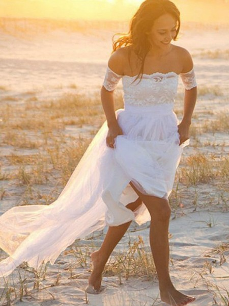 A-Line/Princess Chiffon Lace Off-the-Shoulder Sleeveless Floor-Length White Wedding Dresses