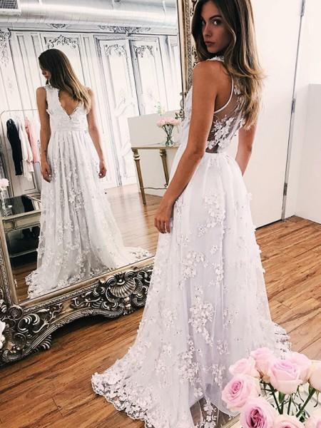 A-Line/Princess Organza Applique V-neck Sleeveless Sweep/Brush Train White Wedding Dresses