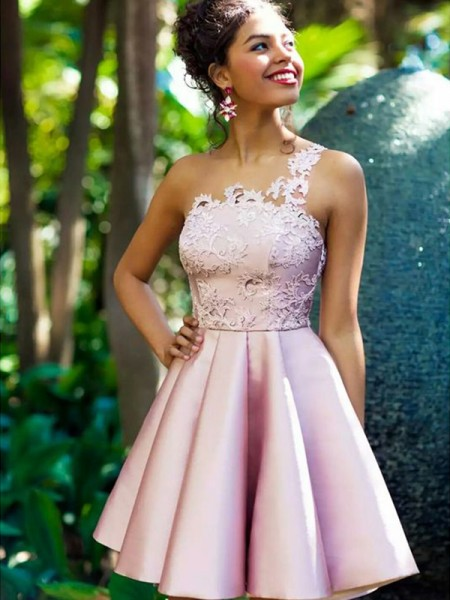 A-Line/Princess Sleeveless Applique Satin Short/Mini One-Shoulder Dresses