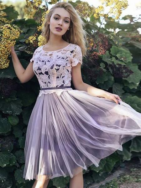 A-Line/Princess Short Sleeves Sash/Ribbon/Belt Tulle Short/Mini Scoop Dresses