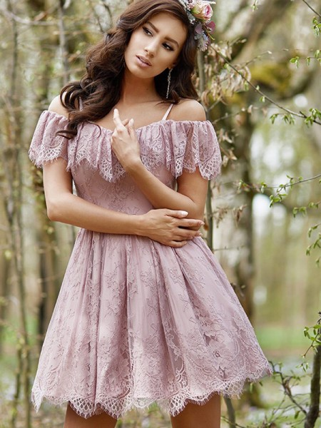 A-Line/Princess Sleeveless Ruffles Lace Short/Mini Off-the-Shoulder Dresses