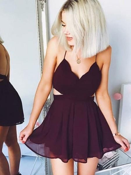 A-Line/Princess Sleeveless Chiffon Short/Mini Spaghetti Straps Dresses