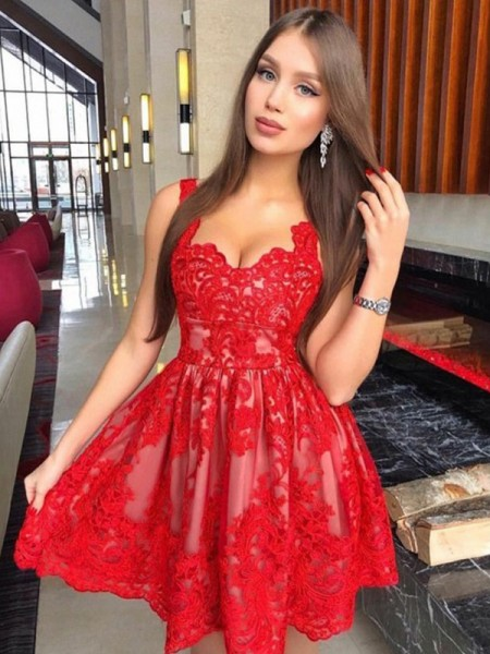 A-Line/Princess Straps Lace Short/Mini Sleeveless Dresses