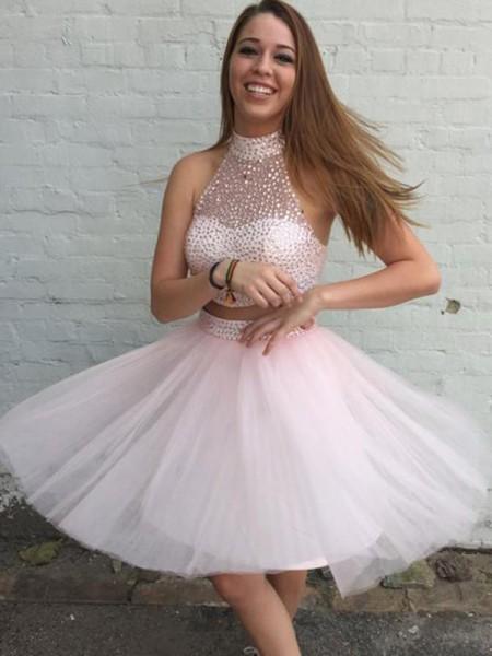 A-Line/Princess High Neck Tulle Short/Mini Sleeveless Dresses