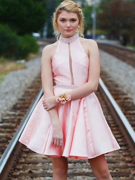 A-Line/Princess High Neck Satin Short/Mini Sleeveless Dresses
