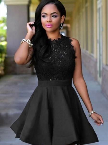 A-Line/Princess Jewel Sleeveless Short/Mini Lace Satin Homecoming Dresses
