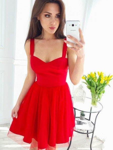 A-Line/Princess Straps Tulle Short/Mini Sleeveless Dresses