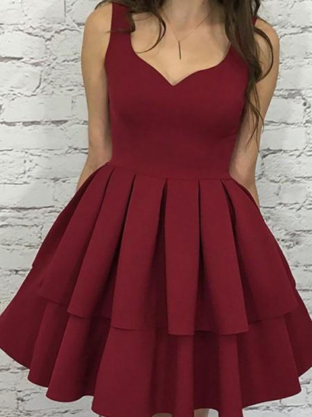 A-Line/Princess Straps Satin Short/Mini Sleeveless Dresses