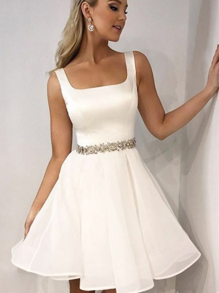 A-Line/Princess Straps Chiffon Short/Mini Sleeveless Dresses