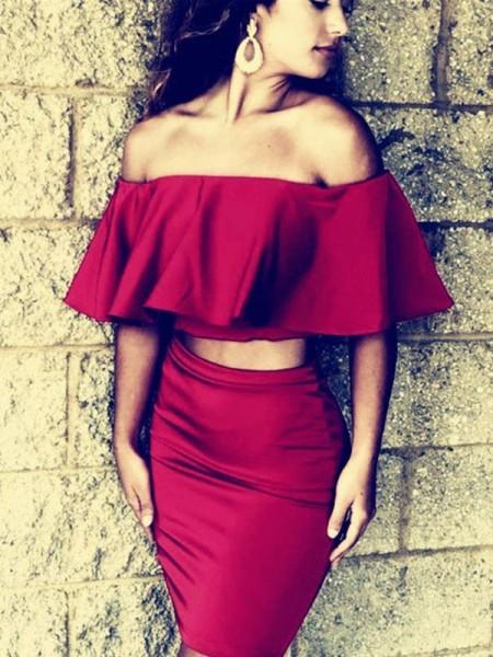 Sheath/Column Off-the-Shoulder Satin Short/Mini 1/2 Sleeves Dresses
