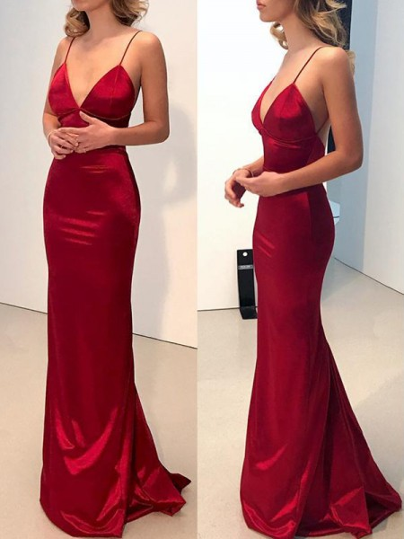 Sheath/Column Spaghetti Straps Silk Like Satin Sweep/Brush Train Sleeveless Dresses