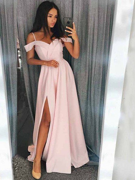 A-Line/Princess Off-the-Shoulder Satin Sweep/Brush Train Sleeveless Dresses