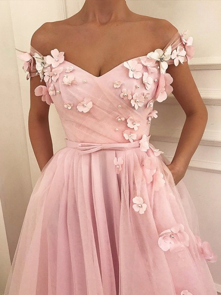 A-Line/Princess Off-the-Shoulder Tulle Floor-Length Sleeveless Dresses