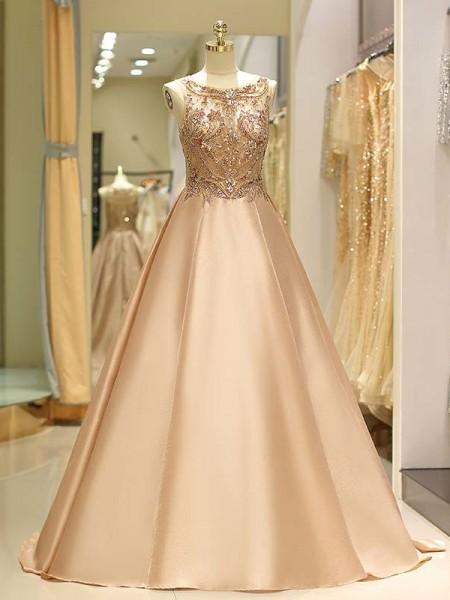 Ball Gown Bateau Satin Sweep/Brush Train Sleeveless Dresses