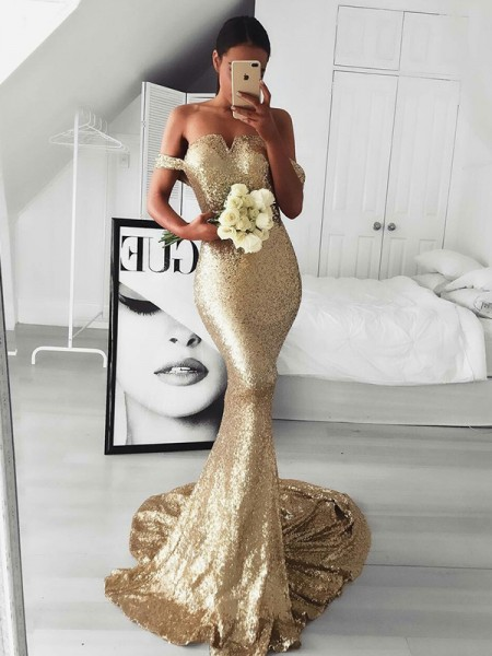 Trumpet/Mermaid Off-the-Shoulder Sequins Sweep/Brush Train Sleeveless Dresses