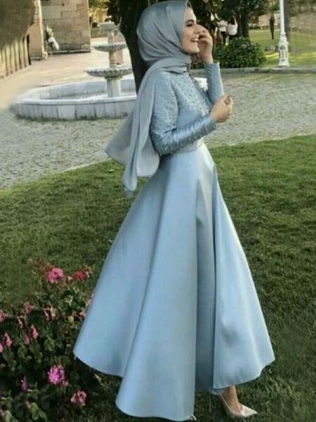 A-Line/Princess Scoop Satin Floor-Length Long Sleeves Dresses