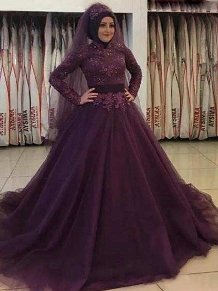 Ball Gown High Neck Tulle Sweep/Brush Train Long Sleeves Dresses
