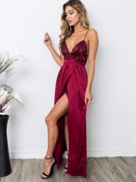 A-Line/Princess Straps Silk Like Satin Floor-Length Sleeveless Dresses