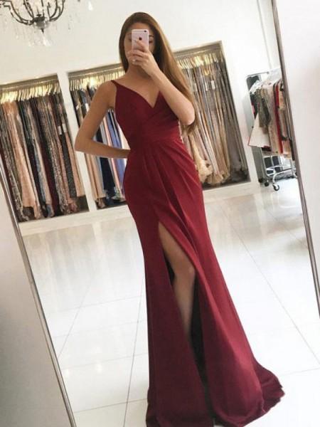 A-Line/Princess V-neck Silk like Satin Sweep/Brush Train Sleeveless Dresses