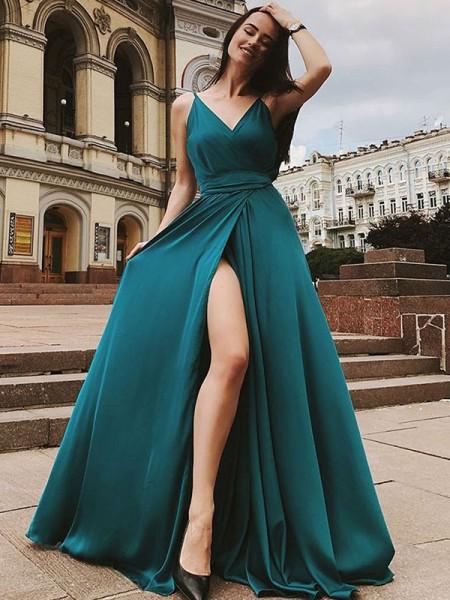 A-Line/Princess Straps Satin Chiffon Sweep/Brush Train Sleeveless Dresses