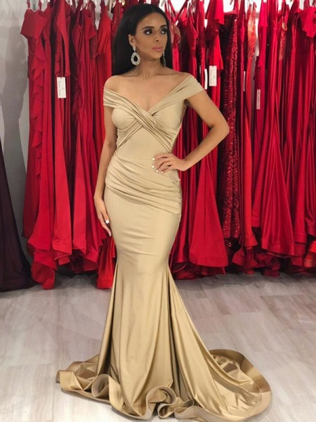 Trumpet/Mermaid Off-the-Shoulder Spandex Sweep/Brush Train Sleeveless Dresses