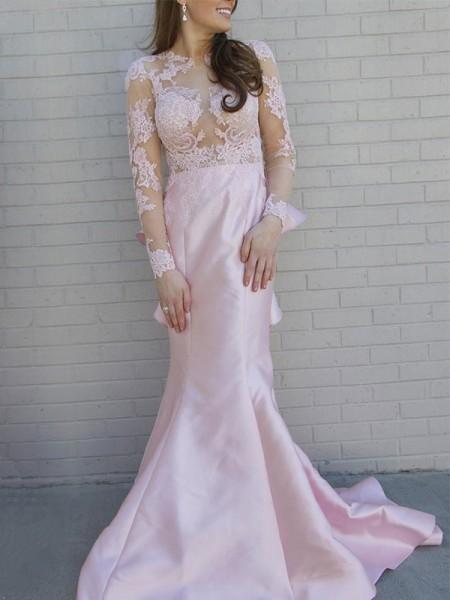 Trumpet/Mermaid Scoop Applique Long Sleeves Sweep/Brush Train Satin Dresses