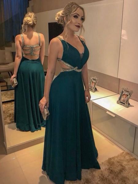 A-Line/Princess V-neck Beading Sleeveless Floor-Length Chiffon Dresses