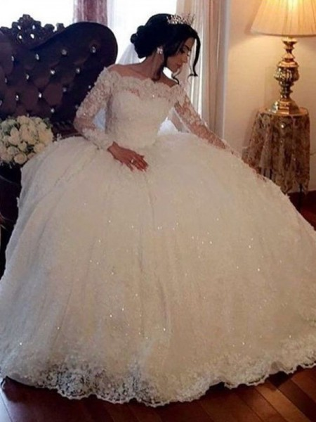 Ball Gown Bateau Lace Long Sleeves Floor-Length Tulle Wedding Dresses