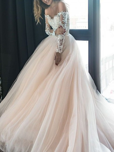 A-Line/Princess Off-the-Shoulder Applique Long Sleeves Court Train Tulle Wedding Dresses