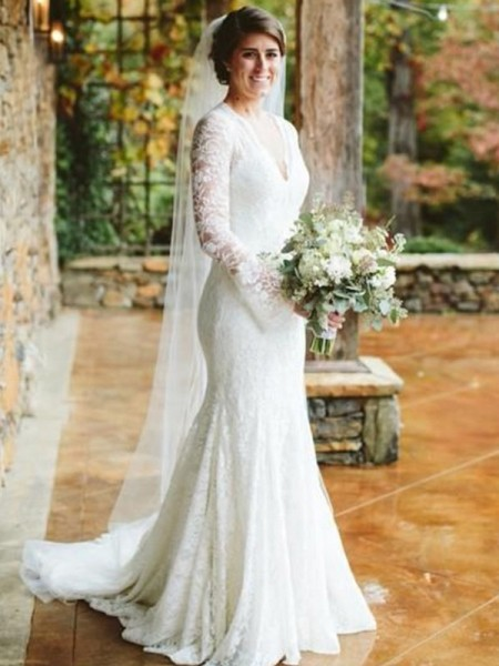 Trumpet/Mermaid V-neck Ruffles Long Sleeves Sweep/Brush Train Lace Wedding Dresses